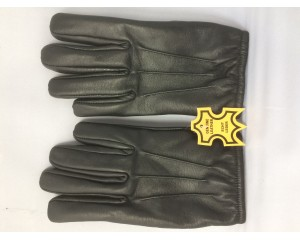 Men's Genuine Leather Gloves with Fleece Lining : G005-BLK-Cop