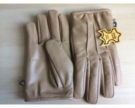 Men's Genuine Leather Gloves With Fleece Lining :G003-Dark-TanCop